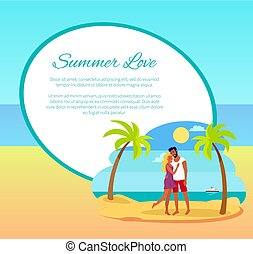 Summer Love Web Poster Happy Couple Hugging Palm