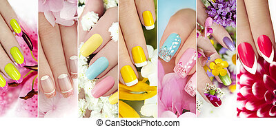 Summer manicure. - A collage of colorful summer manicure on...