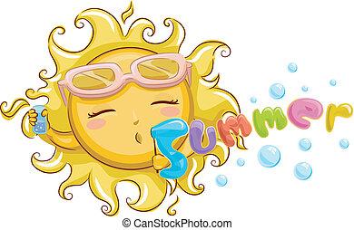 Summer Mascot - Mascot Illustration Featuring a Sun Blowing...