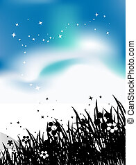 Summer meadow and birds in sky, black silhouette