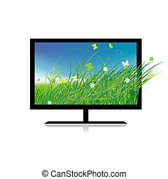 Summer meadow on monitor tv