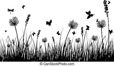 summer meadow - Vector grass silhouettes background for ...