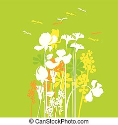 summer medaw flowers with dragonfly. vector illustration of flat concept floral