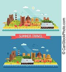 Summer Mediterranean Coast Town Landscape - Travel summer...