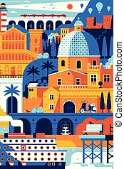 Summer Mediterranean Travel Poster - Summer travel island...
