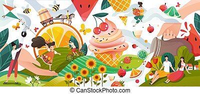 Summer memories, happy people cartoon characters in fantasy world with fruits and ice cream, vector illustration