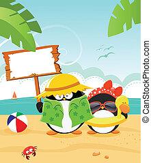 Summer Message - Cute little penguin's summer message[