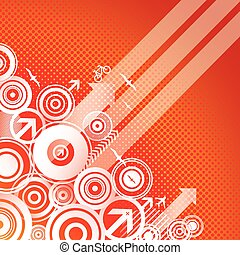 Summer Migration - Red background with circles and arrows.