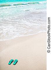 e5ed3709c Summer black flip flops with sunglasses on white beach. Summer flip ...