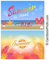 Summer Mood Hello Summertime 2018 Bright Posters