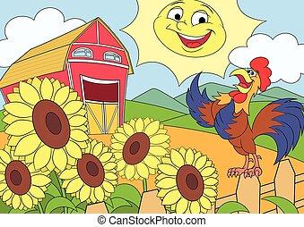 Summer morning on the farm 2 - Illustration of the summer...