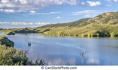 summer morning over Horsetooth Reservoir at foothills of Rocky Mountains