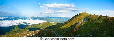 Summer morning panorama on Pip Ivan mountain