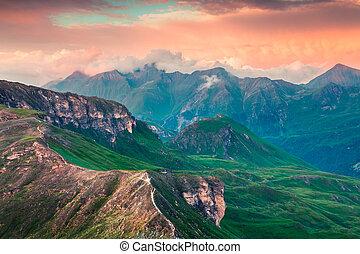Summer morning view of Grossglockner mountain range from Grossglockner High Alpine Road