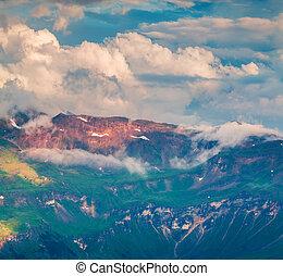 Summer morning view of Grossglockner mountain range from Grossglockner High Alpine Road.