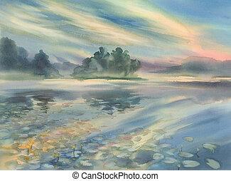 Summer morning watercolor landscape