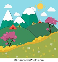 Summer Mountain Camping Landscape. Vector illustration