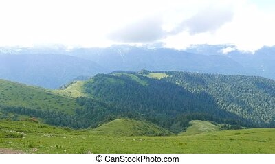 Summer mountain landscape. Ridge Aibga. Sochi, Russia....