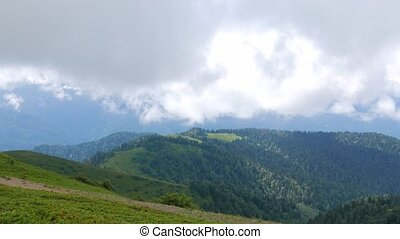Summer mountain landscape. Ridge Aibga. Sochi, Russia....