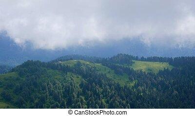 Summer mountain landscape. Ridge Aibga. Sochi, Russia. Time...