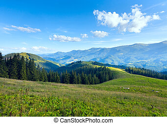 Summer mountain plateau landscape with dirty road on hill...