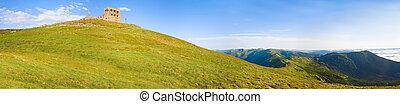 Summer Pip Ivan mountain top with fortress - observatory ruins (Chornogora Ridge, Carpathian, Ukraine). Five shots stitch image.