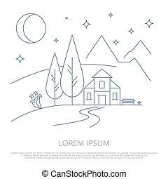 Summer mountains camp line background - forest landscape outline vector