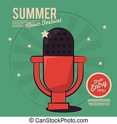 summer music festival microphone vintage