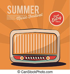 summer music festival radio vintage poster invitation