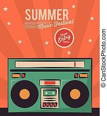 summer music festival stereo radio vintage card