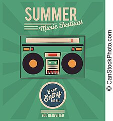 summer music festival stereo radio vintage greeting