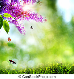 Summer natural backgrounds with lilacs, butterfly and beautiful bokeh