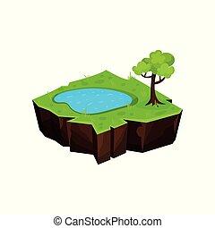 Summer natural landscape with pond, fantastic island for game user interface, element for video games, computer or web design vector Illustration