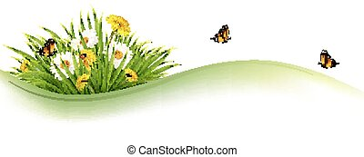 Summer nature background with grass, flowers and...