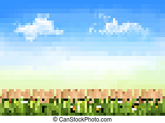Summer nature background with green grass and wooden fence . Vector.