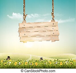Summer nature background with green landscape and wooden sign. Vector