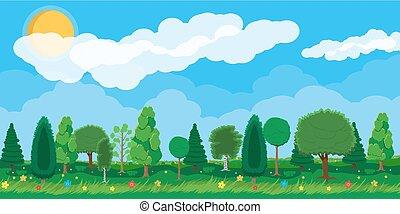 Summer nature landscape, national park. - Summer nature...