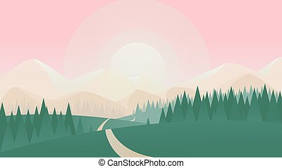 Summer nature landscape vector illustration, cartoon flat countryside scenery with green grass land meadow on hills, spruce tree forest and road to sun on horizon