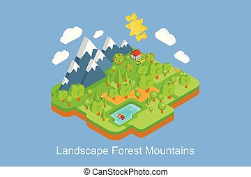 Summer nature landscape with mountains, trees, lake, sun and clouds vector Illustration