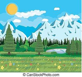 Summer nature mountain landscape, national park.