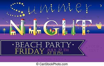 Summer Night. Beach Party. Vector Inscription
