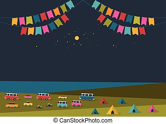 Summer night festival, party music poster, background with color flags and retro cars, vans, buses and tent field. Flat design.
