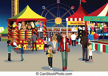 Summer night outdoor fair - A vector illustration of people...