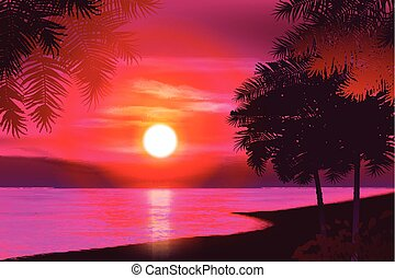 Summer night. Palm trees on the background of sunset. Vector illustration