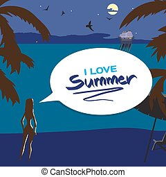 Summer night vacation concept background with space for text. Vector cartoon flat illustration. Silhouette of a girl on the beach, lights of a cruise ship in the distance, in the moonlight.