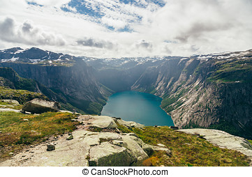 Summer norwegian landscape with mountain lake
