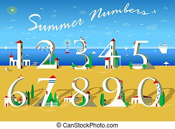 Summer Numbers. White houses on the beach