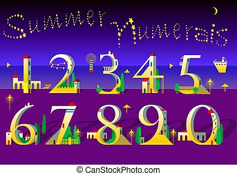 Summer Numbers. Yellow houses on the night beach