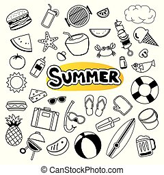 Summer objects set sticker icon in doodle design. Cartoon vector illustration. Can be used for banner, badges, symbol, element isolated background.