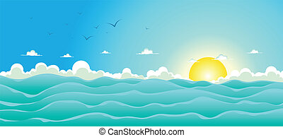Illustration of a cartoon wide ocean for spring, or summer holiday vacations header, with seagulls, rough sea, foam and sunlight